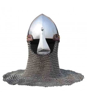 Bacinete with protection and nasal chainmail trim