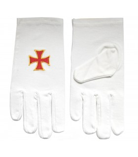White gloves with the Cross of the knights Templar bordaba