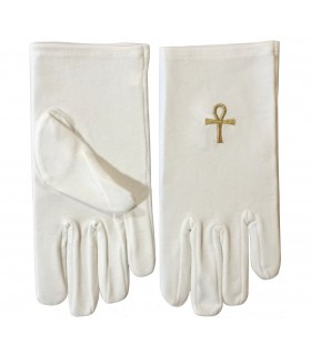 White gloves with the Ankh of Isis masonic