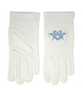 White gloves masonic with square, compass embroidery