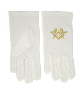 White gloves masonic with square and compass embroidered in gold