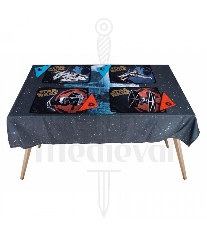 Set tablecloth, 4 saves-tablecloths and napkins Star Wars death star