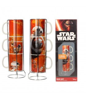 Set of 3 cups stackable ceramic BB-8 droid from Star Wars. Ep VII