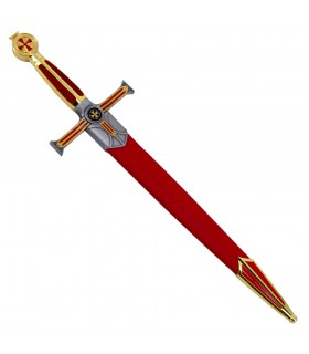 Dagger of the knights Templar golden, fist velvet
