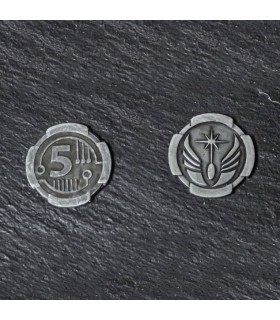 Currency Space of 5 Credits, silver finish