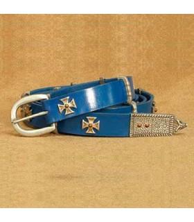Belt Maltese Cross, blue leather