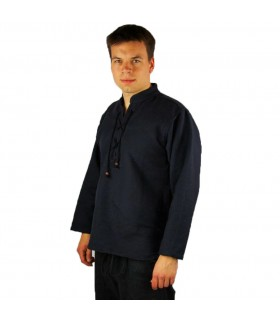 Shirt medieval thick lace-up, black
