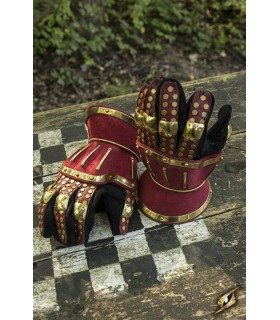 Gauntlets medieval Hourglass, red