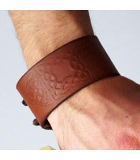 Bracelet Celtic Knots in Leather, adjustable (1 unit)
