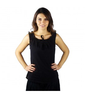 Blouse medieval sleeveless Adele, black color