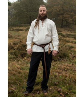 Shirt medieval natural white with ties model Corvin