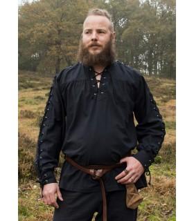Shirt medieval black ties model Corvin