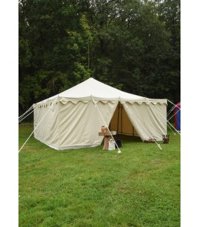Tent medieval Herold of 6 x 6 m. cotton natural white