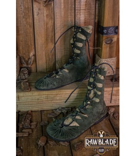 Sandals high Greco-Roman Elorika, green leather