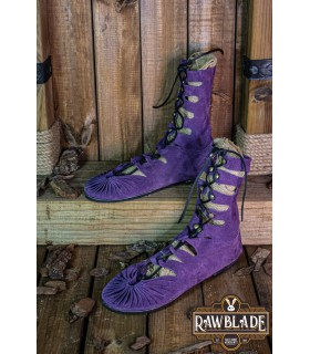 Sandals high Greco-Roman Elorika, leather purple