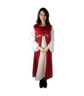 Dress medieval two-tone model Donna red-natural white