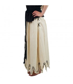 Skirt medieval embroidered with model Svenja, white, raw