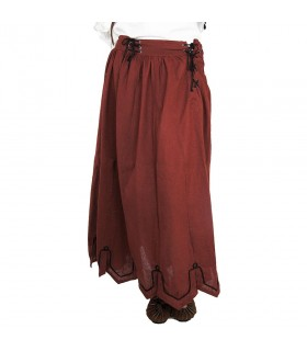 Skirt medieval embroidered with model Svenja, red
