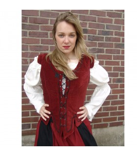 Vest medieval model Adrienne, red