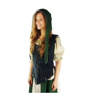 Crespina medieval female model Alex, green, and natural white