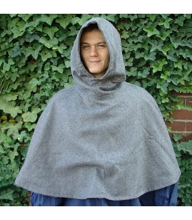 Gugel medieval wool model Paul, gray