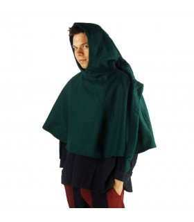 Gugel medieval wool model Paul, green