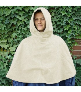 Gugel medieval wool model Paul, natural white