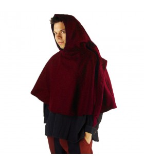 Gugel medieval wool model Paul, red