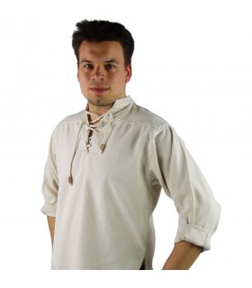 Shirt medieval lace-up model Ansbert, color natural white