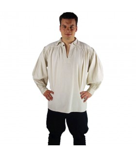 Shirt pirate high neck model James, natural white