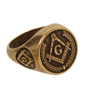 Ring freemasonry in bronze color