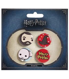 Set of 4 badges, Hagrid, Hat, Dobby, and Harry Potter