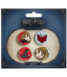 Set of 4 badges, Hermione, Book, Hat, and Hermione on the broom