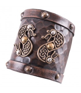Bracelet Viking leather Double Dragon