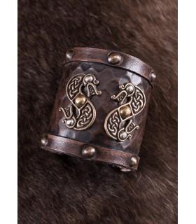 Bracelet Viking leather Double Dragon