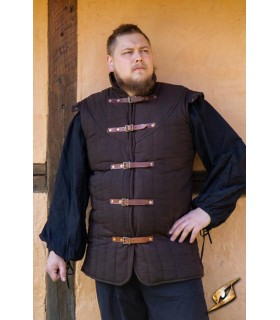 Gambesón Warrior medieval sleeveless, color brown