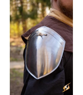 Shoulder pads medieval simple Squire, polished finish