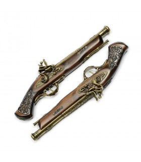 Set of duelling pistols gold plated
