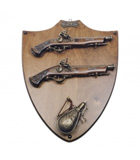 Panoply of wood with guns and polvorera