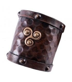 Bracelet viking leather with Trisquel