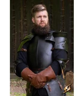 Shoulder pads medieval Milanese, dark steel