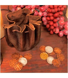 Bag viking leather with 8 coins
