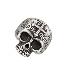 Ring Skull with Cross of steel with a rustic finish