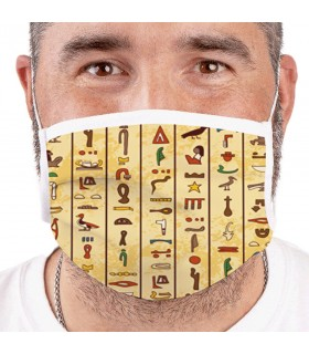 Mask Egyptian Hieroglyphics, Reusable, and Approved (for adults)