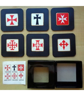 Collection 6 Coasters with Templars Crosses