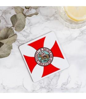 Coasters Knights Templar in wood, 9 cm