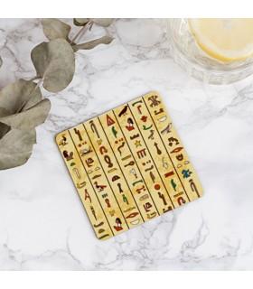 Coasters egyptian hieroglyphics on wood, 9 cm