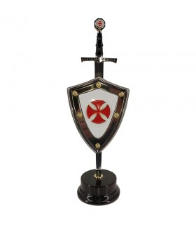 Set Cross, letter opener with shield and stand
