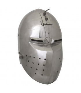 Bacinete medieval battle-ready with visor, thickness 2 mm