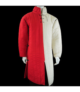 Thick padded medieval gambeson in Natural Red